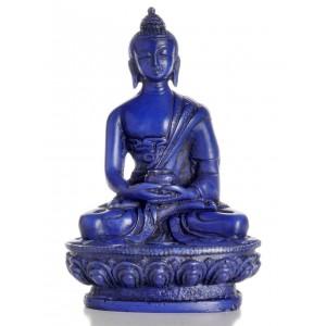Amitabha Buddha Statue Resin 11 cm blau