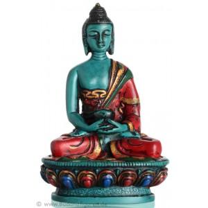 Amitabha Buddha Statue Resin 11,5 cm türkis bemalt