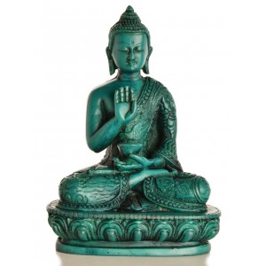 Amoghasiddhi  Buddha Statue 13,5 cm Resin türkis