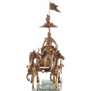 Arjuna mit  Krishna  23 cm Messing Statue