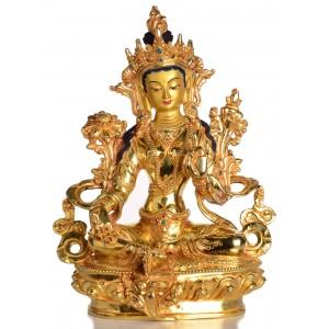 Grüne Tara Statue sitzende Position in der Vorderansicht