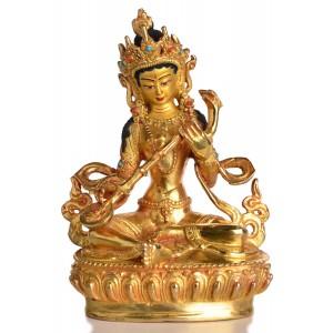 Saraswati Statue sitzende Position in der Vorderansicht