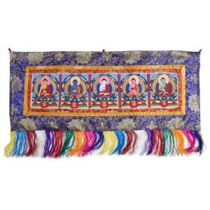 Thangka Pancha Buddha 90 x 38 cm