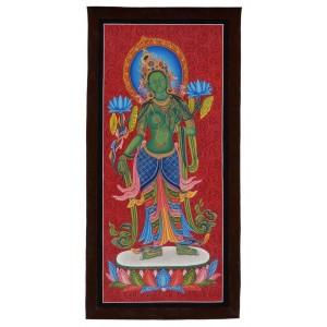 Thangka Grüne Tara 78 x 38 cm