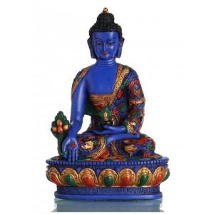 Medizinbuddha 27 cm Buddha Statue  bemalt BLAU