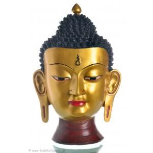 Buddha Maske 39 cm Resin golden
