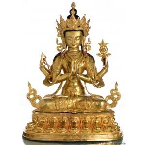 Avalokiteshvara Chenresig 47 cm vollvergoldet Buddha Statue