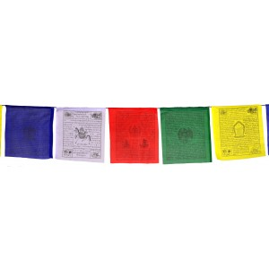 Gebetsfahnen (25 Blatt) 650 cm Kalachakra (26x27cm) Premium SET 5 Rollen