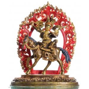 Gesar of Ling Statue 31 cm teilfeuervergoldet