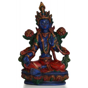 Grüne Tara Statue 21 cm Resin blau bemalt