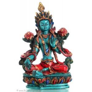 Grüne Tara Statue 16  cm Resin türkis bemalt