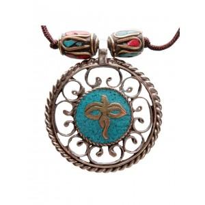 Halskette Buddha Eyes türkis-rot