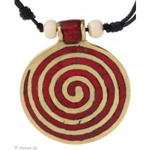 Chakra-Kette mit  Endlos-Spirale rot