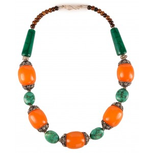 Tibetische Halskette Resin Amber-Türkis Design