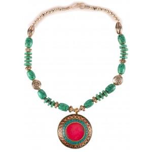 Halskette Türkis-Design roter Anhänger