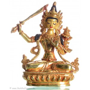Manjushri 14,5 cm vollfeuervergoldet Buddha Statue