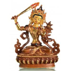 Manjushri 17 cm teil-feuervergoldet Buddha Statue