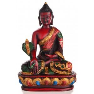 Medizinbuddha  Buddha Statue  bemalt braun 13,5 cm