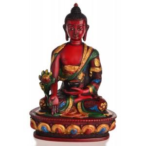 Medizinbuddha 20 cm braun Buddha Statue  bemalt
