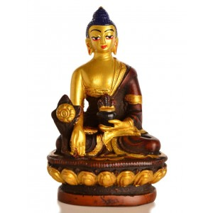 Medizinbuddha 11,5 cm Buddha Statue bemalt golden