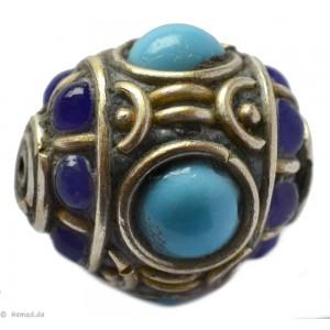 Tibetische Schmuckornamente Glas Messing blau 19mm