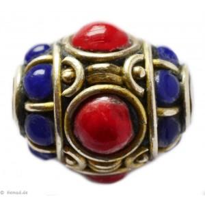 Tibetische Schmuckornamente Glas Messing rot 19mm