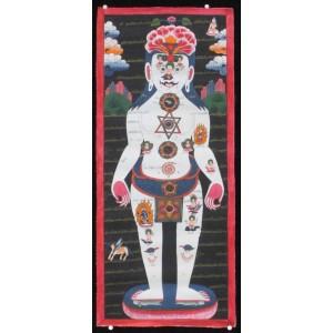 Tibetischer Medizin Yoga Thangka Nr. 1 ca. 32 x 74cm
