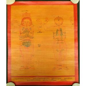 Tibetischer Medizin Yoga Thangka smoked Nr. 12 ca. 39cm x 47cm