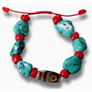 Armband Türkise und dZi Stones