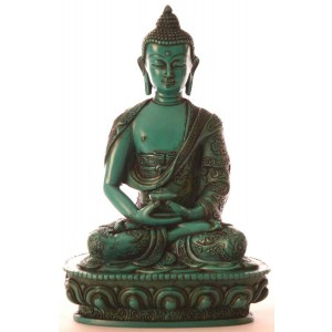 Amitabha Buddha Statue Resin 11 cm türkis