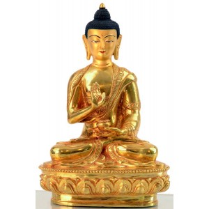 Amoghasiddhi 20 cm voll feuervergoldet Buddha Statue