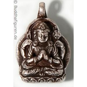Silberschmuckanhänger Avalokiteshvara - Chenresi  25 mm.