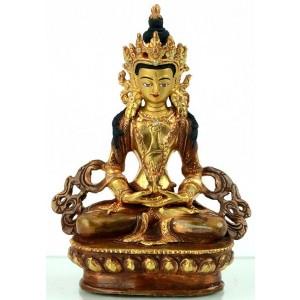 Aparimita / Amitayus 14 cm teil feuervergoldet Buddha Statue