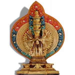 Avalokitesvara 33 cm teilfeuervergoldet Buddha Statue
