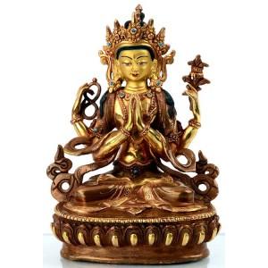 Avalokiteshvara Chenresig 16 cm feuervergoldet Buddha Statue
