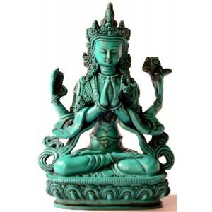 Avalokiteshvara - Chenresig 20 cm Buddha Statue Resin türkis