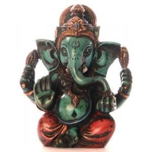Ganesh Statue 8 cm Resin türkis bemalt