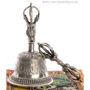 Ghanta  - Glocke silbern  Sets mit Dorje