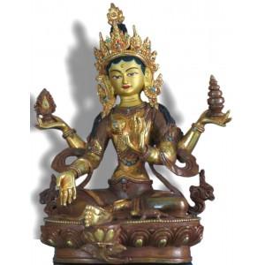 Lakshmi - Laxmi ca. 21,5 cm teilfeuervergoldet