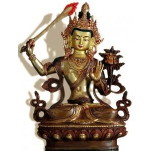 Manjushri 22 cm teil-feuervergoldet Buddha Statue