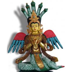 Naga Kanya  23 cm teilfeuervergoldet und bemalt