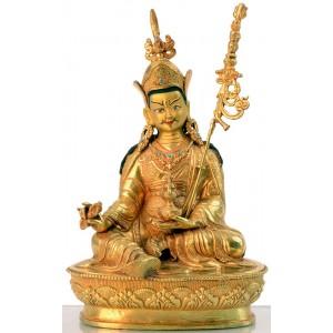 Guru Rinpoche - Padmasambhava 23 cm vollfeuervergoldet Buddha Statue