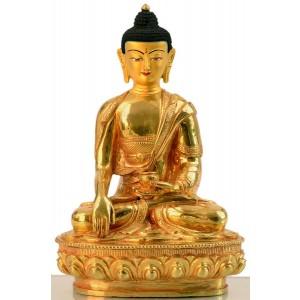 Akshobhya / Shakyamuni 20 cm vollfeuervergoldet Buddhastatue