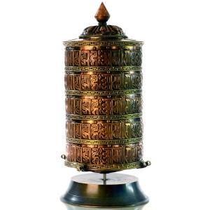 Tischgebetsmühle Kupfer groß - 30 cm dunkel