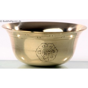 Buddhistische Wasser-Opferschalen Set Messing carved 8 cm