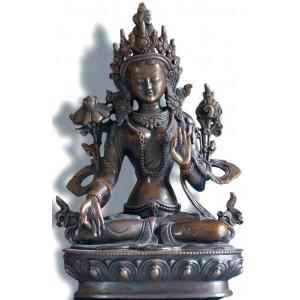 Weiße Tara 22 cm oxydied Buddha Statue