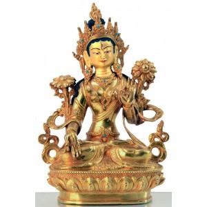 Weiße Tara 22 cm vollfeuervergoldet Buddha Statue