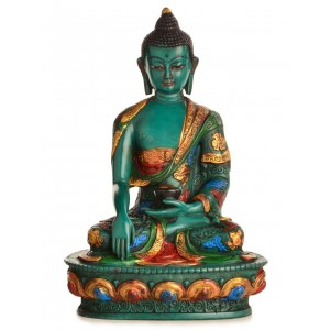 Akshobhya / Shakyamuni 20 cm Buddha Statue Resin türkis - bemalt