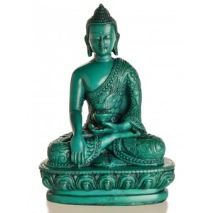 Akshobhya / Shakyamuni Buddha Statue 13,5 cm  Resin türkis