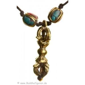 Buddhistische Kette mit Türkis-Korallen-Design